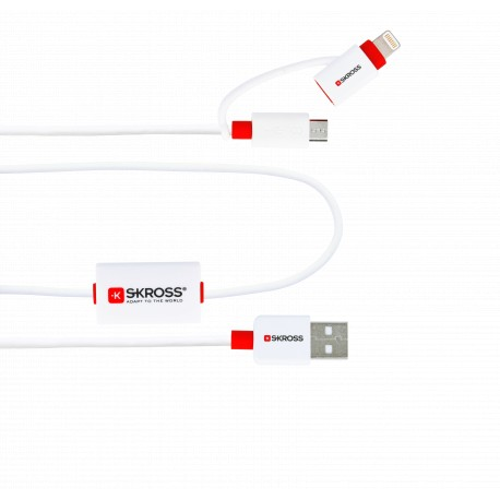 SKROSS - BUZZ Alarmkabel - 2in1 Micro USB & Lightning